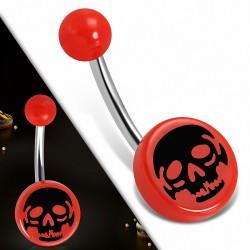Piercing nombril  en acier inoxydable avec cercle rond en acrylique 3 tons crâne rouge | Boule-6mm | G-1