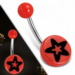 Piercing nombril  en acier inoxydable cercle rond en acrylique 3 étoiles en acrylique rouge   Boule-6mm   G-1