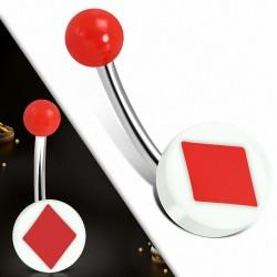 Piercing nombril  en acier inoxydable  avec carte de jeu en acrylique blanc à 3 tons