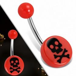 Piercing nombril  en acier inoxydable  en acrylique rouge 3 tons Crâne Cercle rond | Boule-6mm | G-1