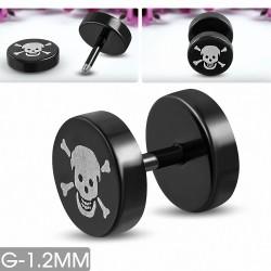 8mm   Piercing oreille faux crâne de pirate souriant en acier inoxydable anodisé noir 2 tons   G-1