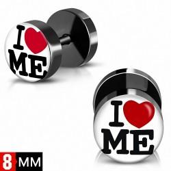 8mm | Cœur 3 tons en acier inoxydable anodisé noir I Love Me Monogram Faux Fake oreille Plug | G-1