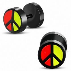 8mm | Faux faux Piercing oreille en acier inoxydable anodisé noir 3 tons | G-1