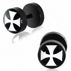 8mm   Piercing oreille  acier inoxydable anodisé noir 2 tons Pattee Cross   G-1