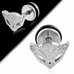 Piercing oreille  acier inoxydable renard sablé Vixen Fox avec joint torique | G-1