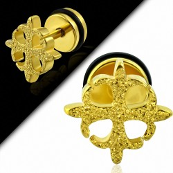 Plaqué or couleur acier inoxydable sablé Fleury Cross Faux faux Piercing oreille avec joint torique | G-1