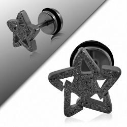 Piercing oreille  acier inoxydable sablé étoile  acier inoxydable avec joint torique | G-1