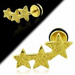 Plaqué or couleur acier inoxydable sablé étoiles Comet Faux faux Piercing oreille avec joint torique   G-1