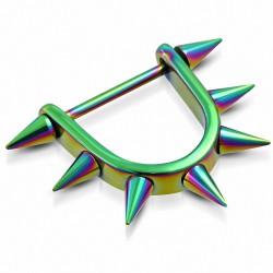 Piercing téton d'étrier en acier inoxydable anodisé arc-en-ciel | Pointes coniques 3 mm | G-1