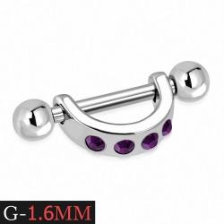 Piercing téton étrier en acier inoxydable avec Rose Rose CZ | Boule 3mm | G-1