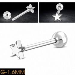 Piercing oreille en acier inoxydable étoile Tragus / Cartilage Barbell   Boule 5mm   G-1