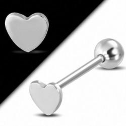 Piercing oreille Barbell Tragus / Cartilage Love Horeillet en acier inoxydable | Boule 6mm | G-1