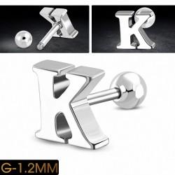 Piercing oreille en acier inoxydable Alphabet initiale / lettre K Tragus / Cartilage Barbell | Boule 4mm | G-1