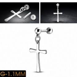 Piercing en acier inoxydable Pattee Croix Charm  Tragus / Cartilage Barbell     Boule 4mm   G-1