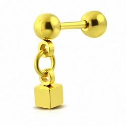 Piercing oreille  cube en acier inoxydable anodisé en or avec pendants Tragus / Cartilage Barbell   | Boule 4mm | G-1