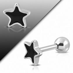 Piercing oreille en acier inoxydable 2 tons étoile Tragus / Cartilage Barbell | Boule 4mm | G-1