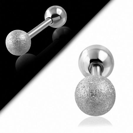 Piercing oreille en acier inoxydable sablé Tragus / Cartilage Barbell | Boule 6mm | G-1