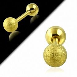 Plaqué or couleur acier inoxydable sablé Tragus / Cartilage Barbell  Piercing oreille | Boule 6mm | G-1
