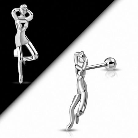 Piercing oreille Barbell en acier inoxydable Lady Tragus / Cartilage | Boule 4mm | G-1