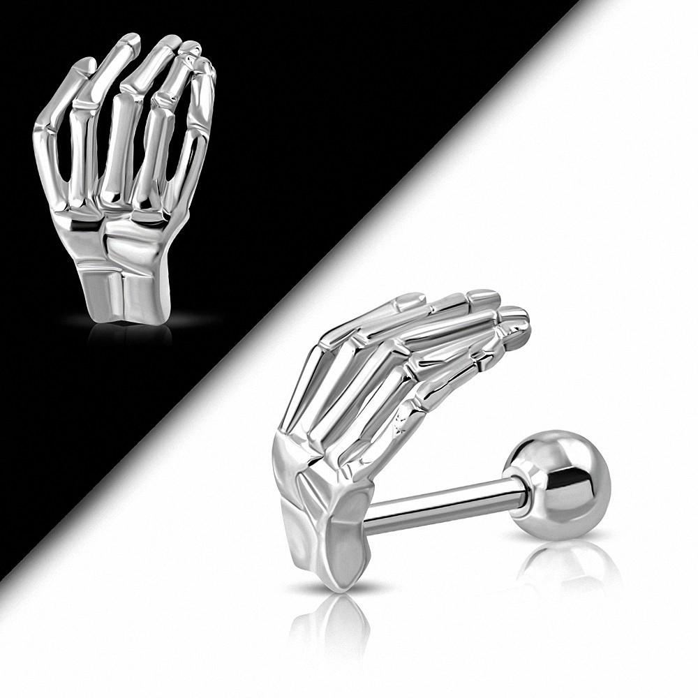 Piercing oreille Diable en acier inoxydable / squelette main Tragus / Cartilage Barbell  | Boule 4mm | G-1