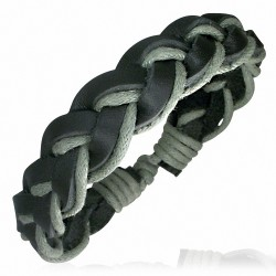 Bracelet homme cuir vert et noir
