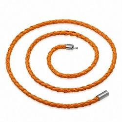 Collier homme cuir orange - 56 cm