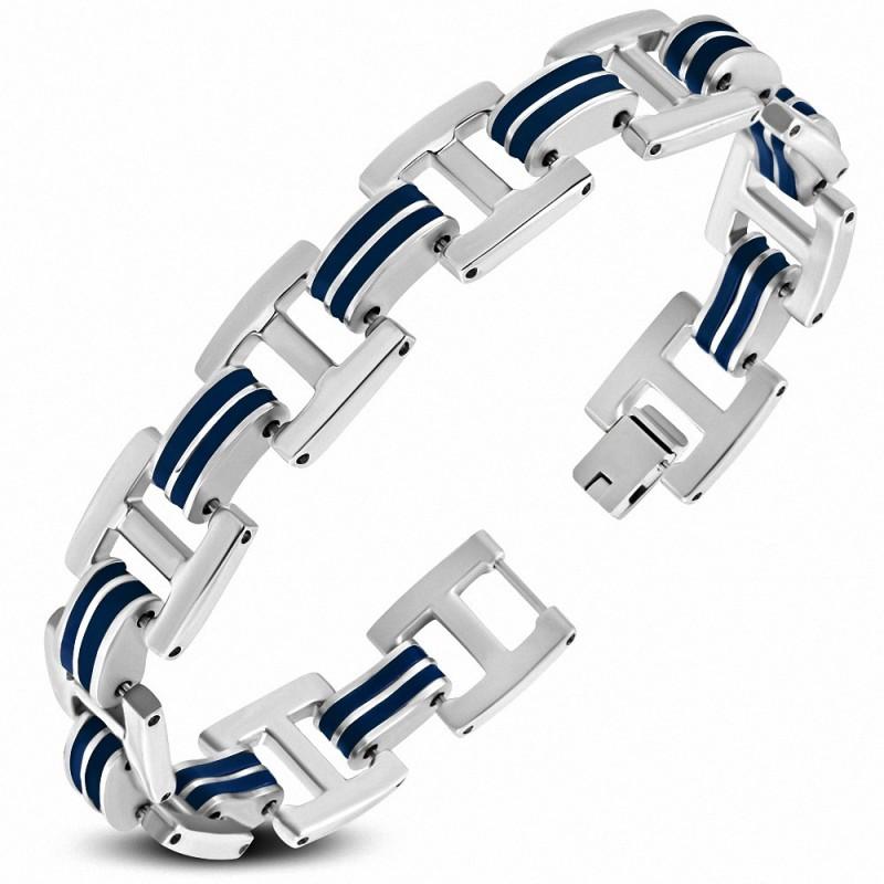 Bracelet homme acier et caoutchouc bleu liens en H