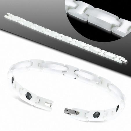 Bracelet homme magnétique céramique blanche