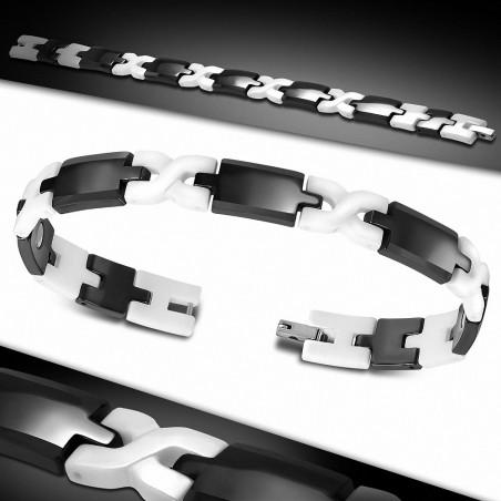 Bracelet homme magnétique céramique noire et blanche