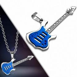 Pendentif homme guitare électrique bleue