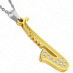 Pendentif homme saxophone doré