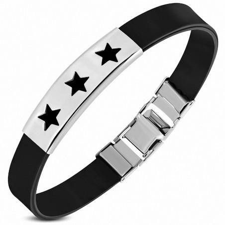 Bracelet homme caoutchouc noir étoiles