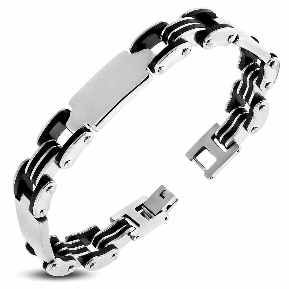 Bracelet homme acier plaque et caoutchouc noir