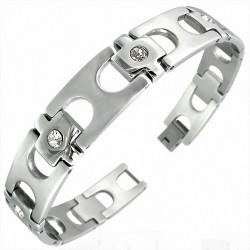 Bracelet homme acier zircon