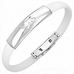 Bracelet homme caoutchouc blanc lézard