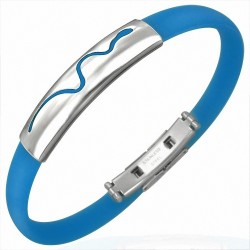 Bracelet homme caoutchouc bleu serpent