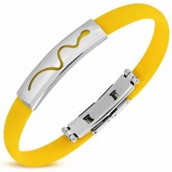 Bracelet homme caoutchouc jaune serpent