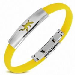 Bracelet homme caoutchouc jaune lézard
