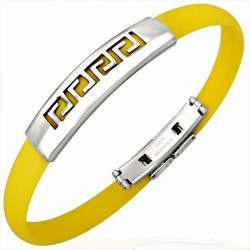 Bracelet homme caoutchouc jaune clé grecque
