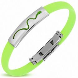 Bracelet homme caoutchouc vert clair serpent
