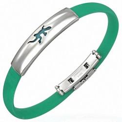 Bracelet homme caoutchouc vert lézard