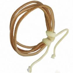 Bracelet homme cuir beige cordes fines