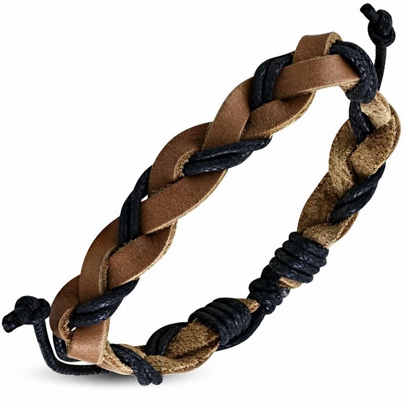 Bracelet homme cuir corde beige et noir