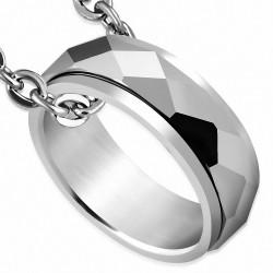 Pendentif homme tungstene anneau facettes