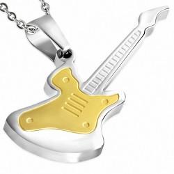 Pendentif homme guitare électrique dorée