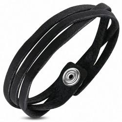 Bracelet homme fantaisie cuir noir