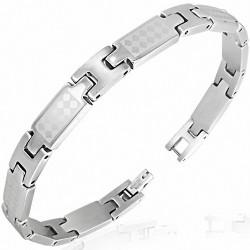 Bracelet homme acier carreaux