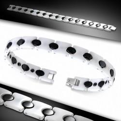Bracelet homme magnétique céramique noir blanc