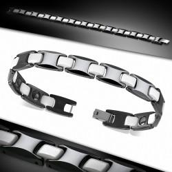 Bracelet magnétique homme céramique noire et blanche