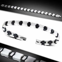 Bracelet homme magnétique céramique blanche et liens noirs